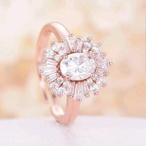 Rose gold filled ring for women white sapphire